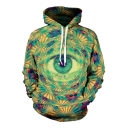 Funny 3D Eye Pattern Long Sleeve Sport Loose Green Pullover Drawstring Hoodie