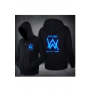 Cool Double W Logo Noctilucent Luminous Letter Logo Printed Long Sleeve Zip Up Hoodie