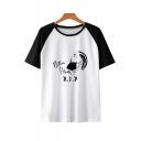 Popular American Rapper Letter Portrait Print Round Neck Short Sleeve Colorblocked Unisex Tee