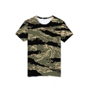 Stylish Camouflage 3D Print Round Neck Short Sleeve Unisex Loose Fit T-Shirt