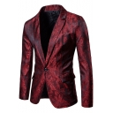 Stylish Printed Notched Lapel Single Button Long Sleeves Flap-Pockets Slim Mens Suit Blazer