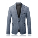 Casual Notched Lapel Single Button Long Sleeves Flap-Pockets Slim Business Suits for Men