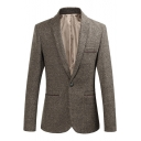 Mens Trendy Lapel Collar Single Button Long Sleeves Slim-Fit Dress Suits Coats