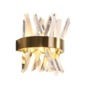 Modern Gold Sconce Light Clear Crystal and Metal Wall Light Fixture for Bedroom