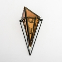 2 Lights Prism Sconce Light Traditional Amber/Natural Ash Crystal Wall Light for Foyer