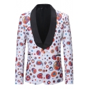 Funny Printed Shawl Collar Long Sleeve Single Button White Casual Tuxedo Jacket Blazer for Men