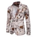 Retro Marine Chart Print Lapel Collar Long Sleeve Single Button Khaki Blazer Jacket for Men
