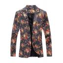 New Arrival Floral Print Single Button Notched Lapel Split Back Long Sleeve Mens Slim Blazer Jacket
