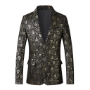 Trendy Allover Tiger Print Double Button Long Sleeves Lapel Collar Gold Blazer Jacket for Men