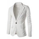 Men's Basic Solid Notched Lapel Single Button Long Sleeve Casual Linen Suit Blazer