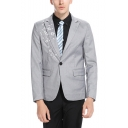 Mens Trendy Floral Embroidered Single Button Long Sleeve Peaked Lapel Prom Suit Blazer Jacket