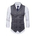 Classic Plaid Printed Shawl Collar Double Breasted Flap-Pockets Suit Vest for Men