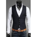 Men's Solid Color Single Breasted Slim Fitted Business Suit Vest
