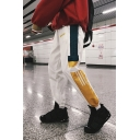 Mens Street Style Cool Letter Print Contrast Striped Tape Side Drawstring Waist Loose Fit Track Pants