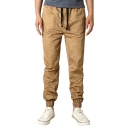 Men's Fashionable Solid Color Drawstring-Waist Casual Sports Chino Pants