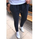 Fashion Classic Vertical Stripe Printed Drawstring Waist Slim Fit Cotton Pencil Pants for Men