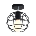 Globe/Cube/Tellurion/Oval Ceiling Light 1 Light Metal Semi Flush Mount Light in Black