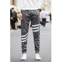 Fashion Striped Patched Drawstring Waist Slim Fit Sport Sweatpants for Men