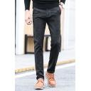 Men's British Style Dark Striped Print Straight-Leg Slim Fit Trousers