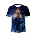 Avengers Captain Marvel 3D Figure Printed Short Sleeve Blue T-Shirt