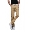 Mens Basic Simple Plain Casual Slim Fit Cotton Chino Trousers Pants