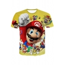 Hot Popular Game Comic Character Pattern Short Sleeve Loose Fit Yellow T-Shirt