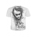 Summer Street Fashion Joker WHY SO SERIOUS Portrait Sketch Short Sleeve White T-Shirt