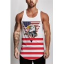 Guys Cool Eagle Flag Printed Scoop Neck Sleeveless White Casual Tank Top
