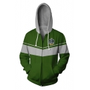 Harry Potter 3D Badge Letter SLYTHERIN Print Colorblock Long Sleeve Sports Zip Up Green Drawstring Hoodie