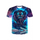 Stylish 3D Lion Galaxy Printed Round Neck Short Sleeve Blue Casual T-Shirt