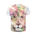 New Trendy Colorful Lion Painting Short Sleeve White T-Shirt for Men