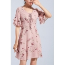 Retro Floral Printed V-Neck Ruffle Sleeve Pink Elegant Mini A-Line Chiffon Dress