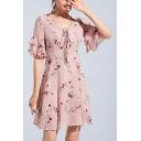Retro Floral Printed V-Neck Ruffle Sleeve Pink Elegant Mini A-Line Chiffon Dress