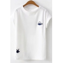 Lovely Cat Fish Embroidery Round Neck Short Sleeve White Pullover T-Shirt