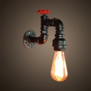 Antique Pipe Shape Wall Light Single Light Metal Wall Sconce in Black for Dining Room