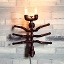 Metal Insect Shape Sconce Light 2 Lights Antique Wall Light Fixture in Rust for Dining Room
