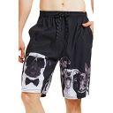 Cartoon Dog Pattern Drawstring Waist Quick Dry Loose Casual Black Unisex Swim Trunks (Pictures for Reference)