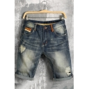 Summer Vintage Destroyed Ripped Detail Rolled Cuff Blue Denim Shorts for Guys