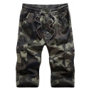 Mens Classic Camo Printed Flap Pocket Side Drawstring Waist Casual Loose Cotton Cargo Shorts