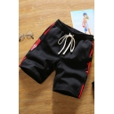 Summer Fashion Letter Striped Tape Side Drawstring Waist Guys Loose Casual Active Shorts