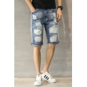 Guys Street Fashion Ripped Detail Stripe Side Loose Casual Light Blue Denim Shorts
