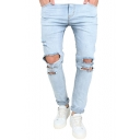 Men's Fashion Rolled Cuff Slim Fit Light Blue Ripped Biker Jeans with Holes