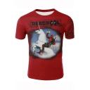 Hot Fashion Deadpool Cool Funny Comic Character Print Red T-Shirt