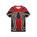 Spider-Man Cool 3D Printed Basic Short Sleeve Classic Fit Black and Red T-Shirt