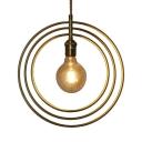 Brass Rings Pendant Light 1 Light Modern Metal Hanging Light for Bedroom