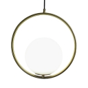Single Ring Suspended Light with White Globe Glass Shade Nordic Pendant Light in Brass