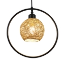 Rattan Ball Pendant Lighting with Black Ring 1 Light Rustic Hanging Lamp for Bedroom