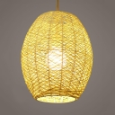 Brown/Beige Oval Suspended Light 1 Light Lodge Rattan Pendant Light for Hallway