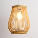 Asian Gourd Pendant Lighting Single Light Woven Hanging Lamp in Beige for Patio