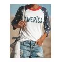 Womens Colorblocked Stars Letter AMERICA Printed Round Neck Three-Quarter Sleeve White T-Shirt